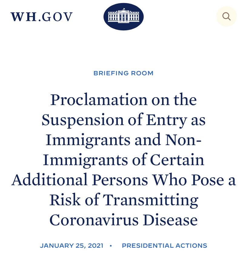 Con fecha de hoy 25 de Enero de 2021, el Presidente Joseph R Biden Jr. ha activado de nuevo las restricciones de entrada en Estados Unidos para viajeros que embarquen desde zona Schengen, Reino Unido, Irlanda y Brasil. Lee la acción presidencial completa AQUI
