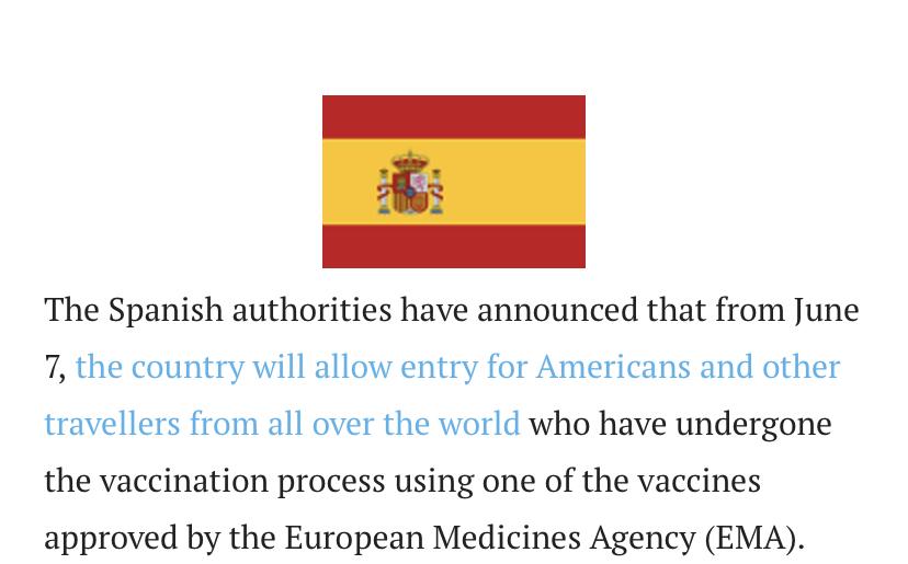 Los americanos podrán entrar en España