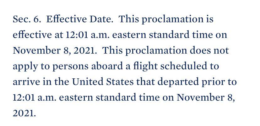Comunicado Oficial de la Casa Blanca, apertura de fronteras a pasajeros vacunados.